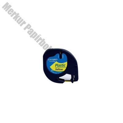Feliratozó szalag DYMO LetraTag 59423 12mmx4m műanyag sárgán fekete