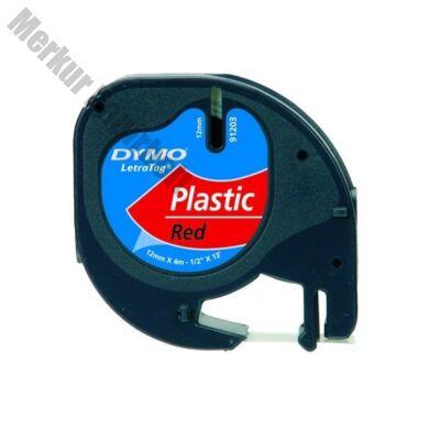 Feliratozó szalag DYMO LetraTag 59424 12mmx4m műanyag piroson fekete