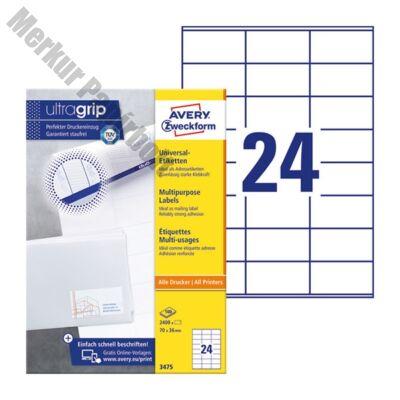 Etikett AVERY 3475 70x36mm univerzális 2400 címke/doboz 100 ív/doboz