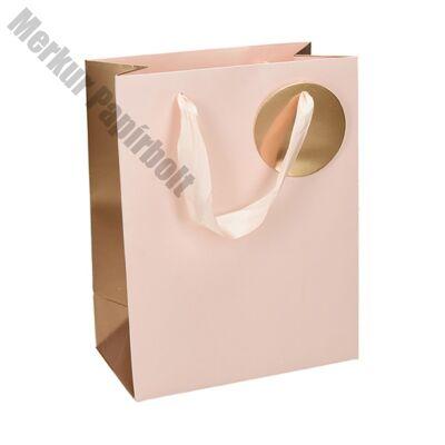 Ajándéktasak Deluxe  M 18x23x10 pasztell rózsaszín arany