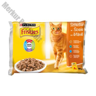 Állateledel alutasakos FRISKIES Adult macskáknak multipack aszpikos 4x100g
