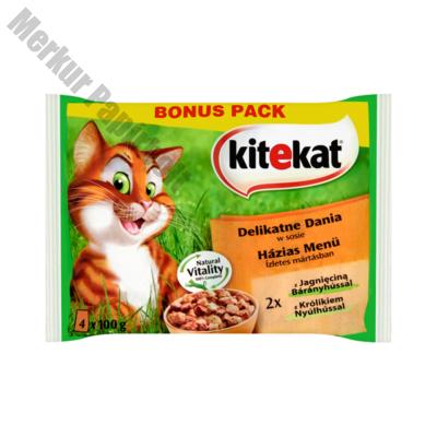 Állateledel alutasakos KITEKAT macskáknak 4-pack házias menü bárány-nyúl 4x100g