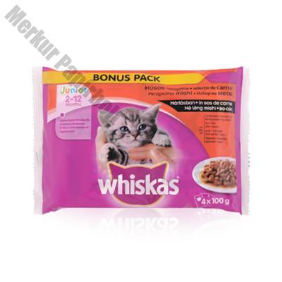 Állateledel alutasakos WHISKAS Junior macskáknak 4-pack húsos 4x100g