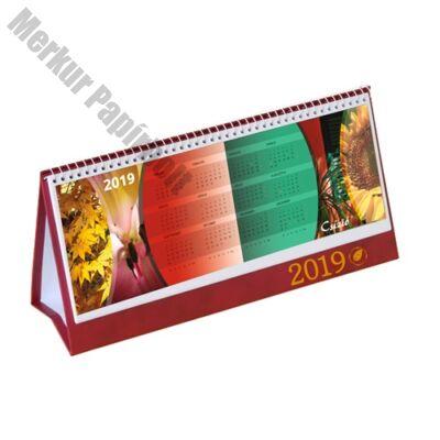 Asztali naptár képes Csízió álló fehér lapos idézetes PVC hátlap bordó 2019.