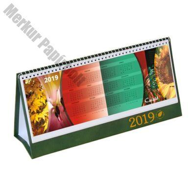Asztali naptár képes Csízió álló fehér lapos idézetes PVC hátlap zöld 2019.