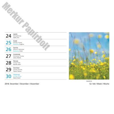 Asztali naptár képes Toptimer T058 álló fehér lapos Hangulatok 2019.
