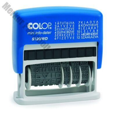 Bélyegző dátum+szöveg COLOP S120/WD 12 féle szöveggel kék ház fekete párna