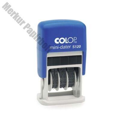 Bélyegző dátum COLOP S120 Mini fordított sorrendű kék ház fekete párna