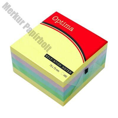 Öntapadós jegyzet OPTIMA 76x76mm pasztell 400 lap