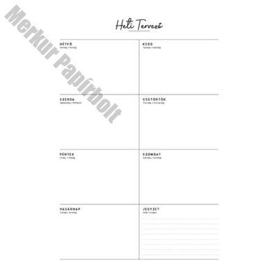Tervezőnaptár TOPTIMER T111 heti álló 340X490mm bianco jegyzetek