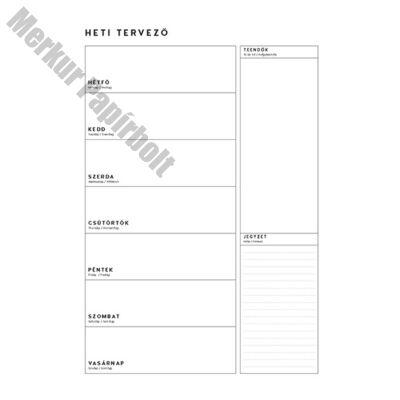 Tervezőnaptár TOPTIMER T111 heti álló 340X490mm bianco teendők és jegyzetek